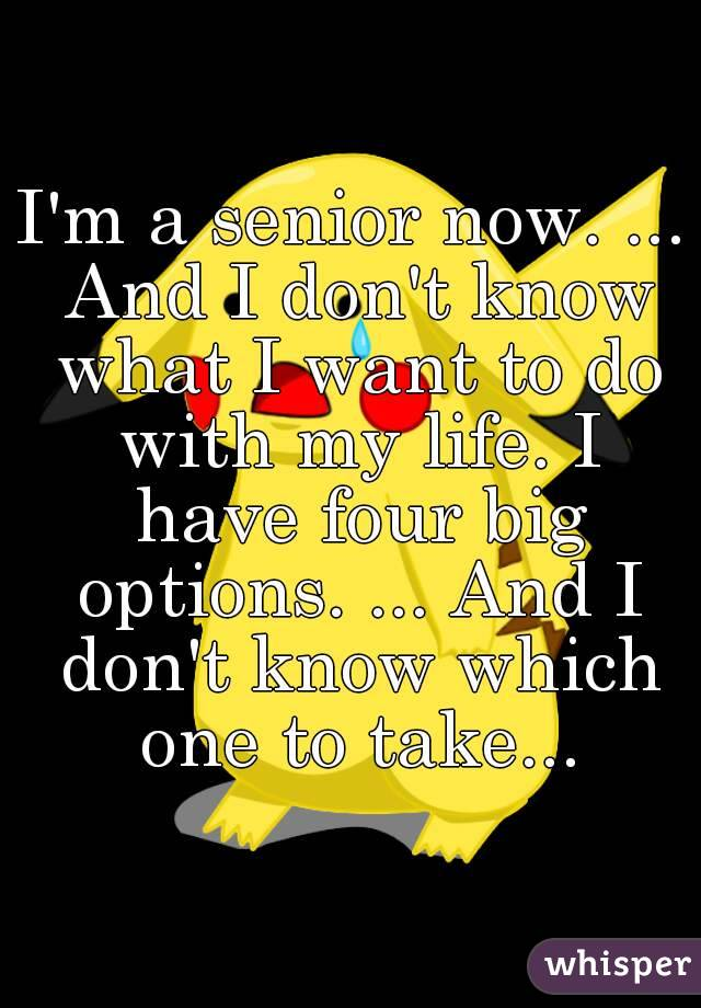 I'm a senior now. ... And I don't know what I want to do with my life. I have four big options. ... And I don't know which one to take...