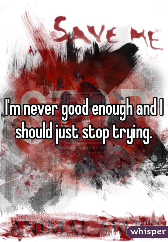 I'm never good enough and I should just stop trying.