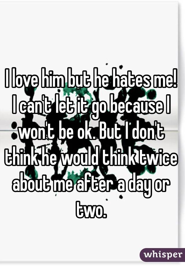I love him but he hates me! I can't let it go because I won't be ok. But I don't think he would think twice about me after a day or two.