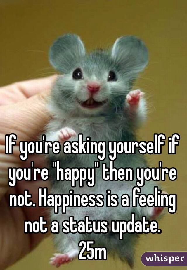 "If you're asking yourself if you're ""happy"" then you're not. Happiness is a feeling not a status update. 25m"