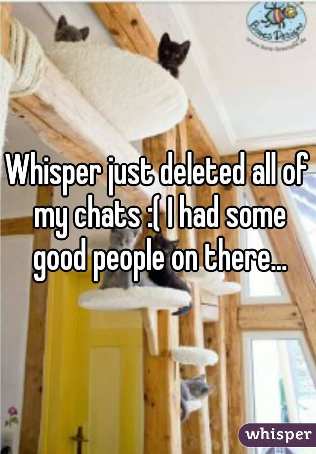 Whisper just deleted all of my chats :( I had some good people on there...