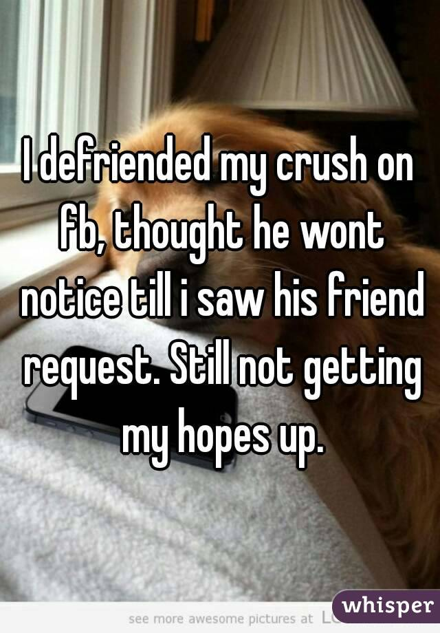 I defriended my crush on fb, thought he wont notice till i saw his friend request. Still not getting my hopes up.