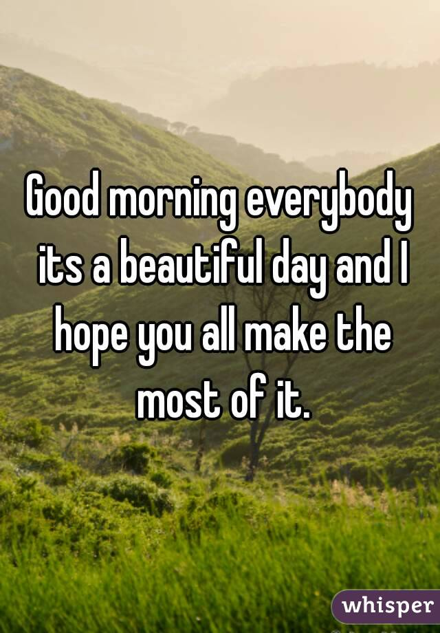 Good morning everybody its a beautiful day and I hope you all make the most of it.