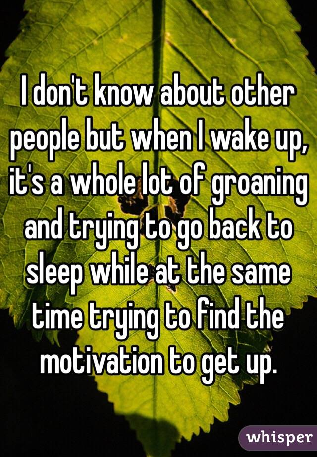 I don't know about other people but when I wake up, it's a whole lot of groaning and trying to go back to sleep while at the same time trying to find the motivation to get up.