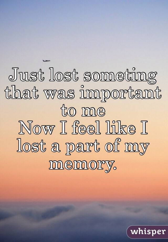 Just lost someting that was important to me Now I feel like I lost a part of my memory.