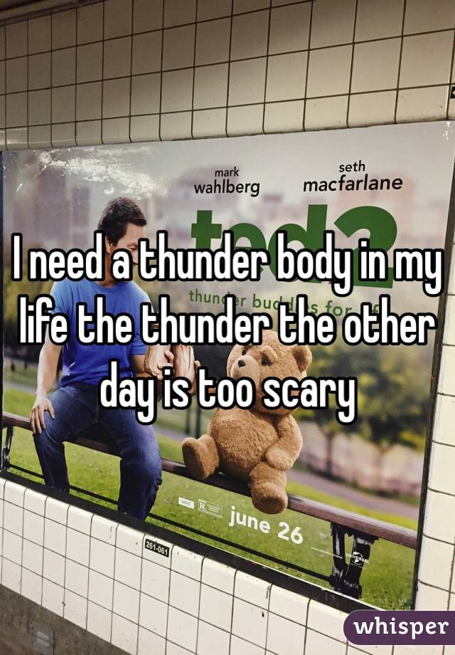 I need a thunder body in my life the thunder the other day is too scary