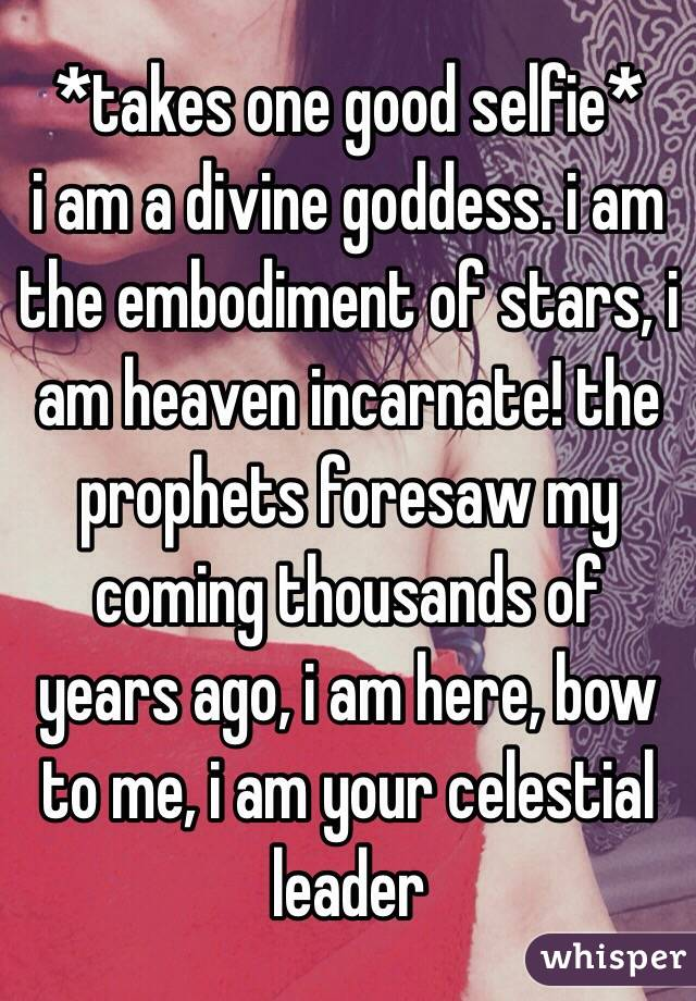 *takes one good selfie*  i am a divine goddess. i am the embodiment of stars, i am heaven incarnate! the prophets foresaw my coming thousands of years ago, i am here, bow to me, i am your celestial leader