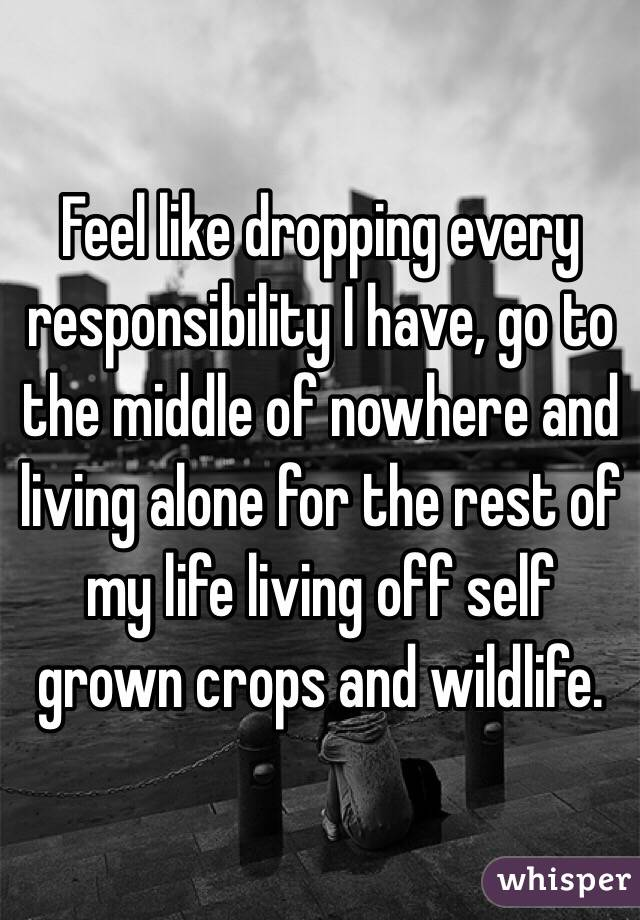 Feel like dropping every responsibility I have, go to the middle of nowhere and living alone for the rest of my life living off self grown crops and wildlife.