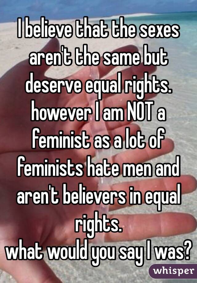 I believe that the sexes aren't the same but deserve equal rights. however I am NOT a feminist as a lot of feminists hate men and aren't believers in equal rights.  what would you say I was?