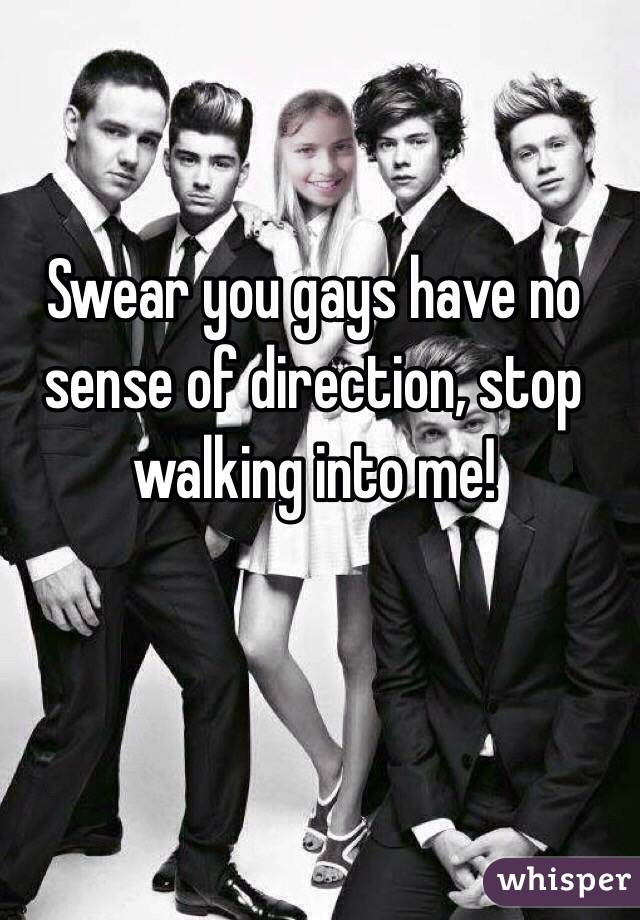 Swear you gays have no sense of direction, stop walking into me!