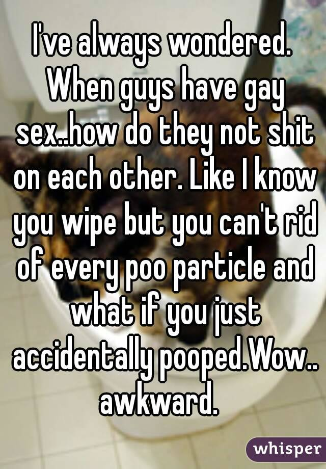 I've always wondered. When guys have gay sex..how do they not shit on each other. Like I know you wipe but you can't rid of every poo particle and what if you just accidentally pooped.Wow.. awkward.