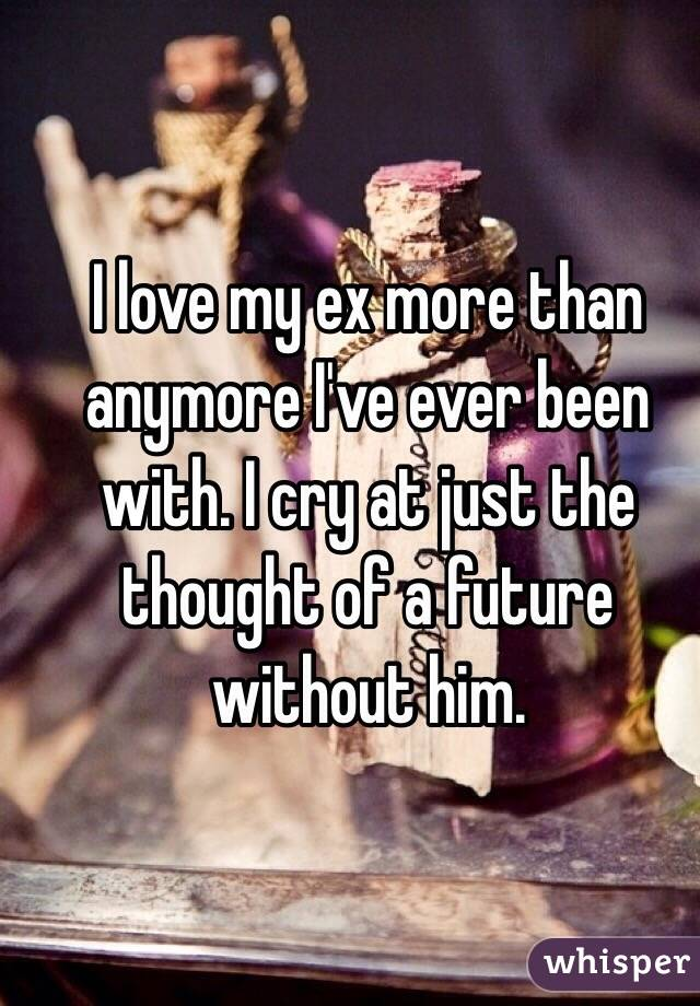 I love my ex more than anymore I've ever been with. I cry at just the thought of a future without him.