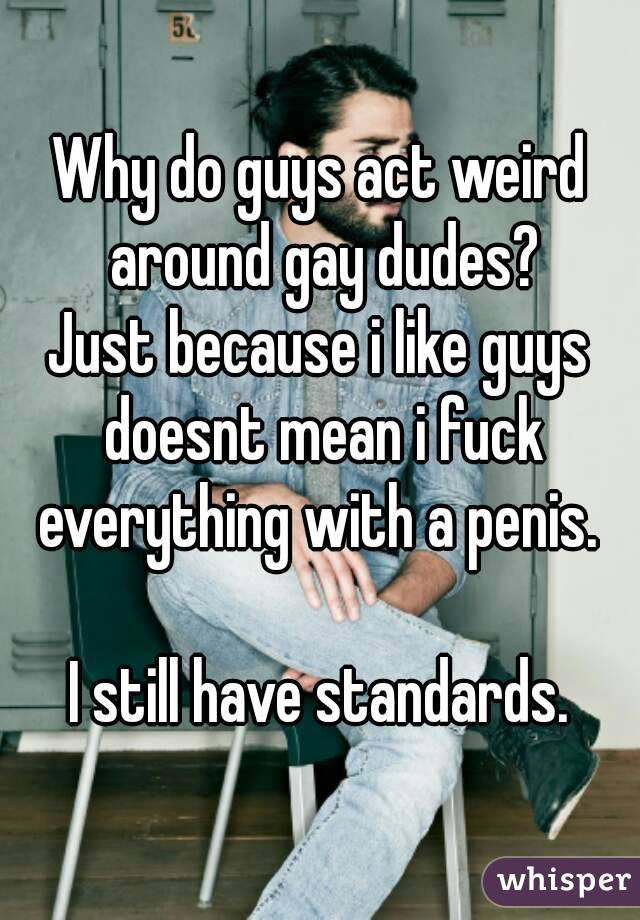 Why do guys act weird around gay dudes? Just because i like guys doesnt mean i fuck everything with a penis.   I still have standards.