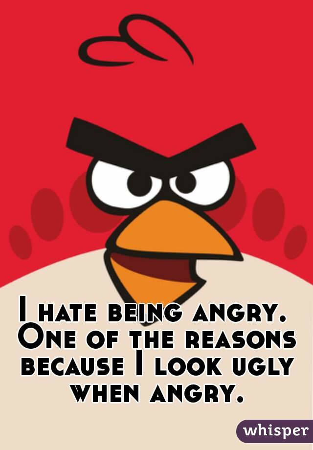 I hate being angry. One of the reasons because I look ugly when angry.