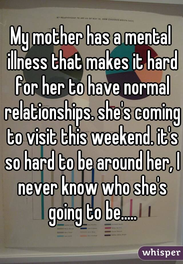 My mother has a mental illness that makes it hard for her to have normal relationships. she's coming to visit this weekend. it's so hard to be around her, I never know who she's going to be.....