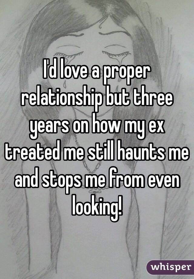 I'd love a proper relationship but three years on how my ex treated me still haunts me and stops me from even looking!
