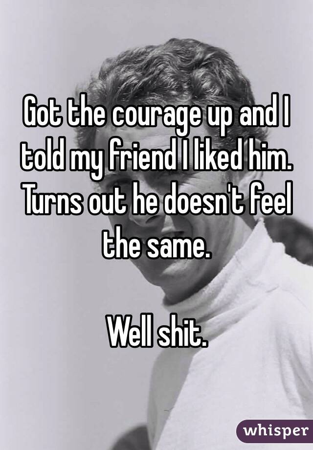 Got the courage up and I told my friend I liked him. Turns out he doesn't feel the same.   Well shit.