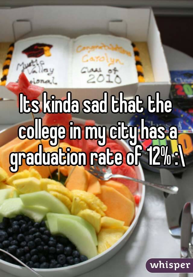 Its kinda sad that the college in my city has a graduation rate of 12% :\