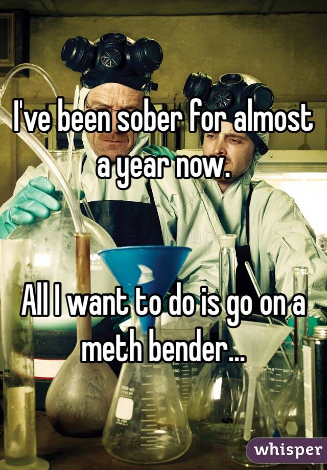 I've been sober for almost a year now.    All I want to do is go on a meth bender...