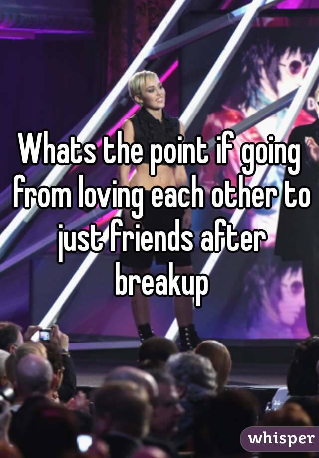 Whats the point if going from loving each other to just friends after breakup