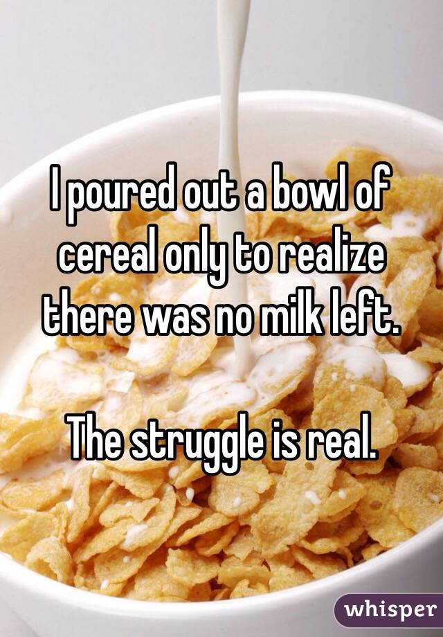 I poured out a bowl of cereal only to realize there was no milk left.  The struggle is real.