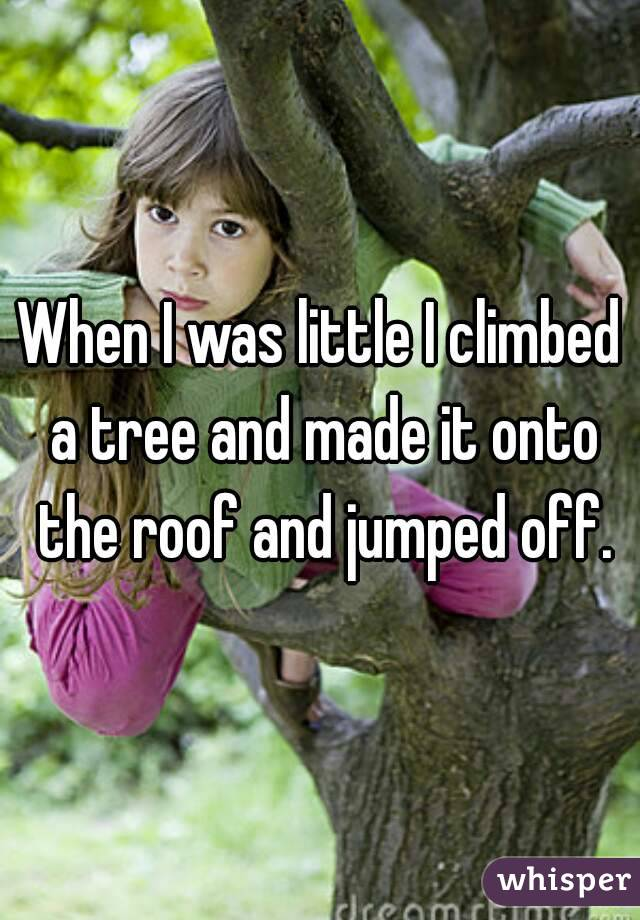 When I was little I climbed a tree and made it onto the roof and jumped off.