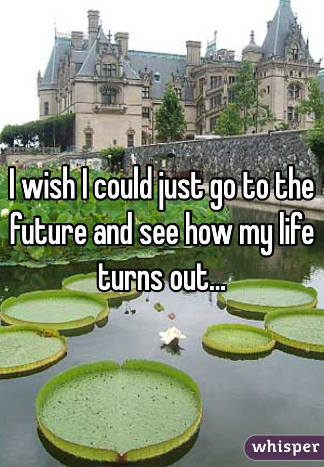 I wish I could just go to the future and see how my life turns out...