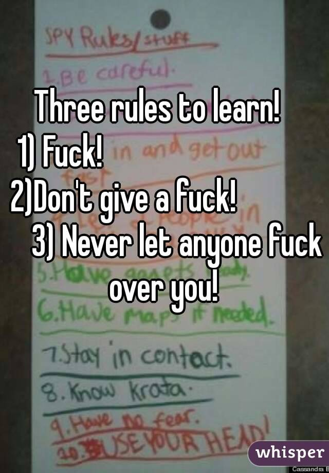 Three rules to learn!   1) Fuck!                                2)Don't give a fuck!                 3) Never let anyone fuck over you!