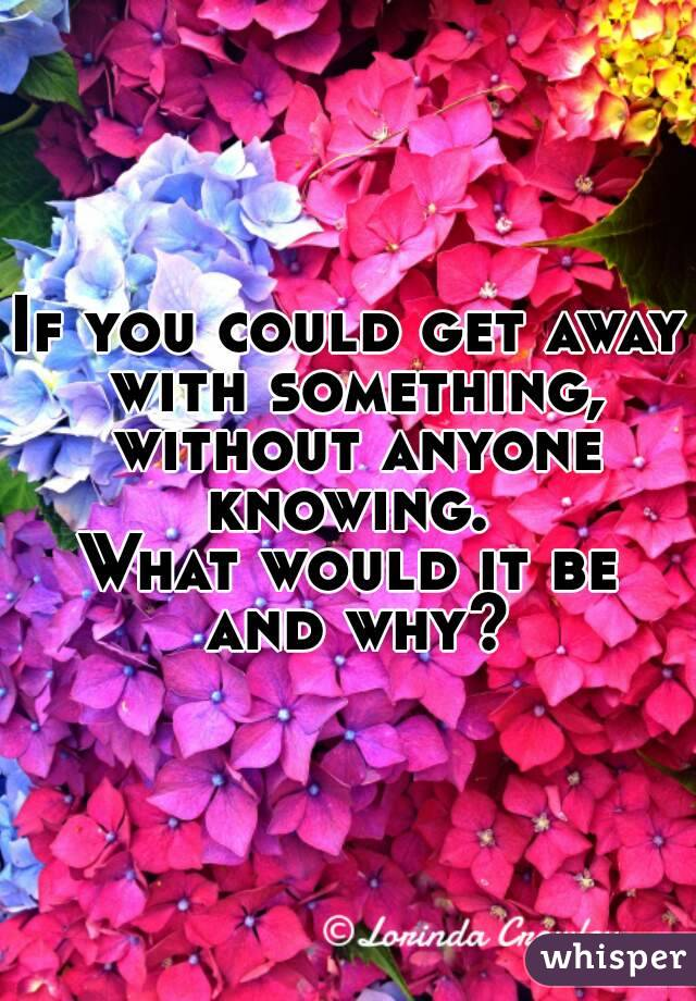 If you could get away with something, without anyone knowing.  What would it be and why?