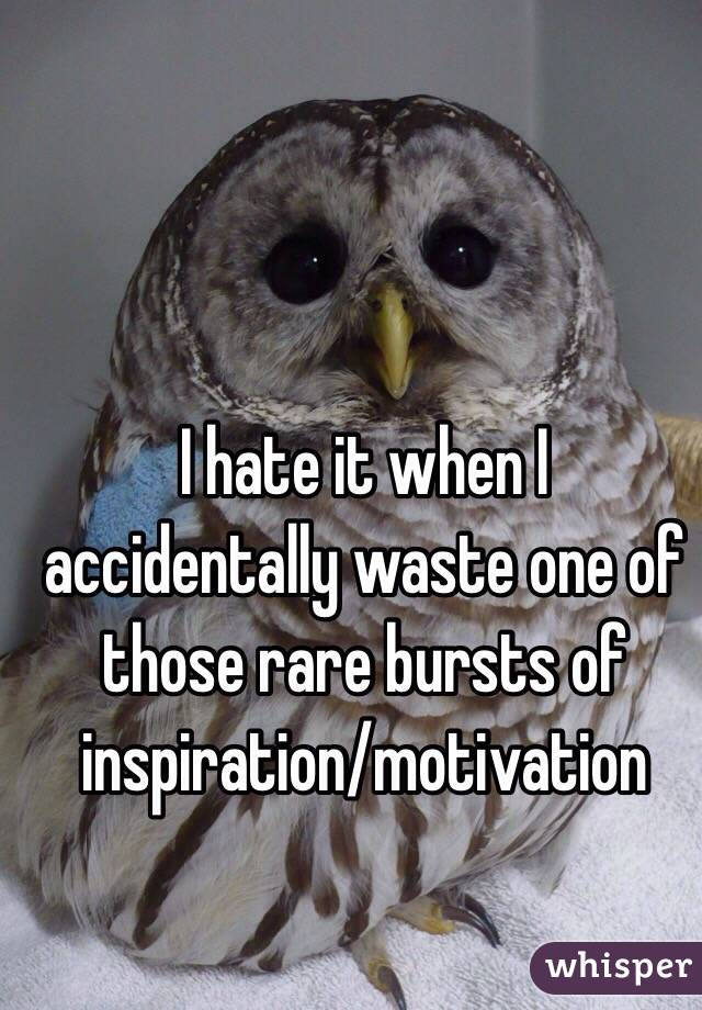 I hate it when I accidentally waste one of those rare bursts of inspiration/motivation