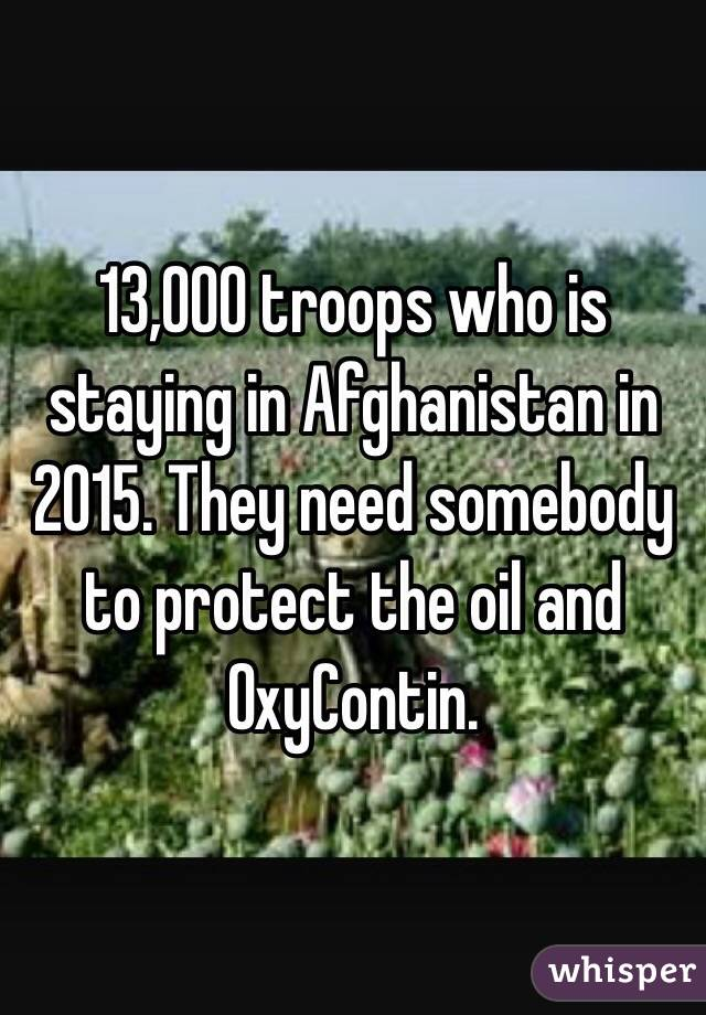 13,000 troops who is staying in Afghanistan in 2015. They need somebody to protect the oil and OxyContin.