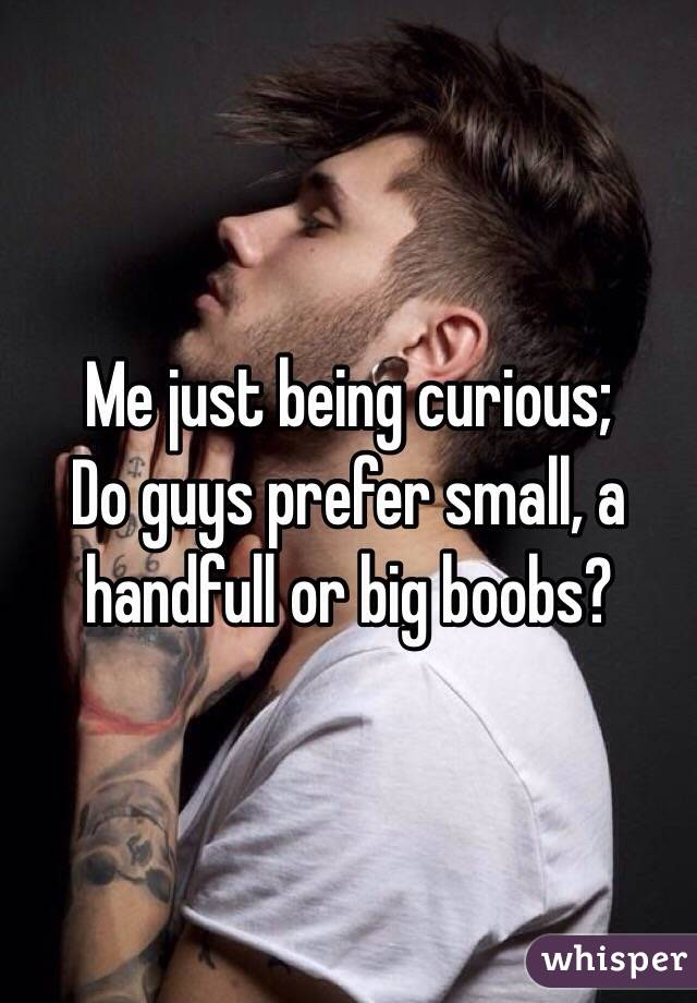 Me just being curious; Do guys prefer small, a handfull or big boobs?