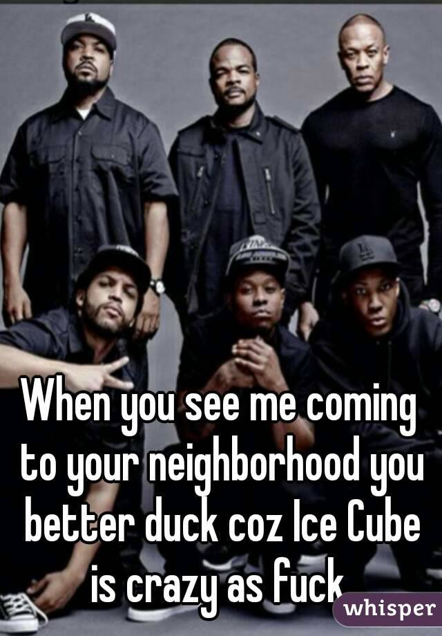 When you see me coming to your neighborhood you better duck coz Ice Cube is crazy as fuck