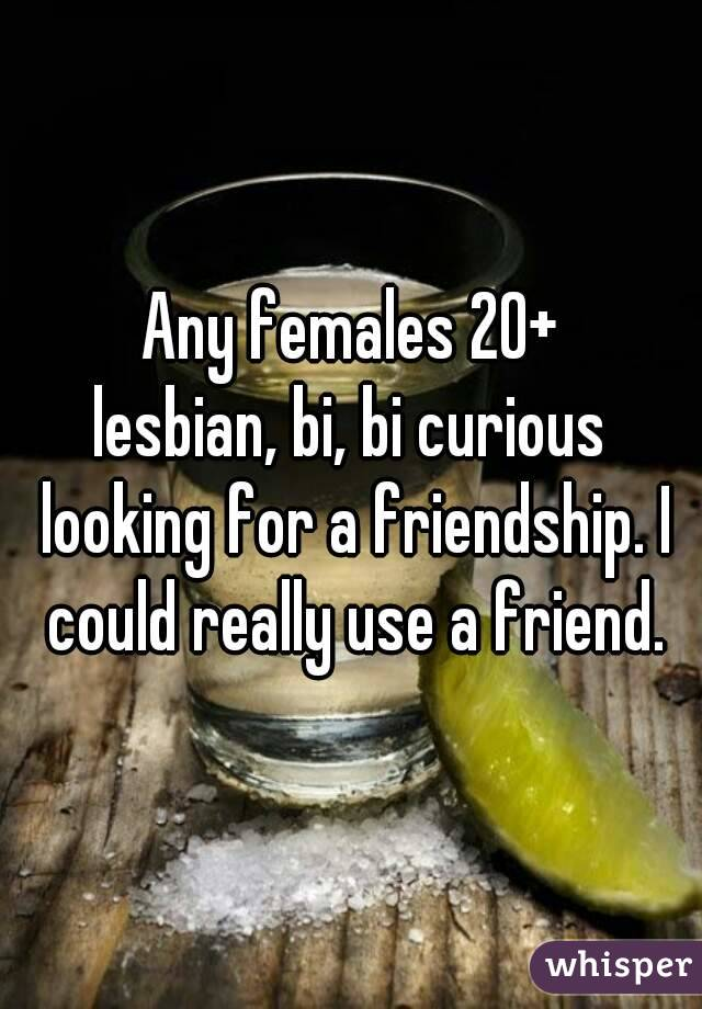 Any females 20+ lesbian, bi, bi curious looking for a friendship. I could really use a friend.