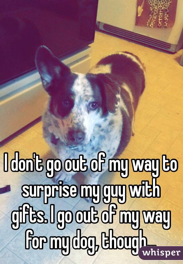 I don't go out of my way to surprise my guy with gifts. I go out of my way for my dog, though...