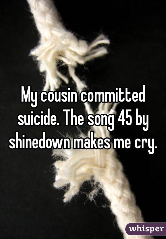 My cousin committed suicide. The song 45 by shinedown makes me cry.