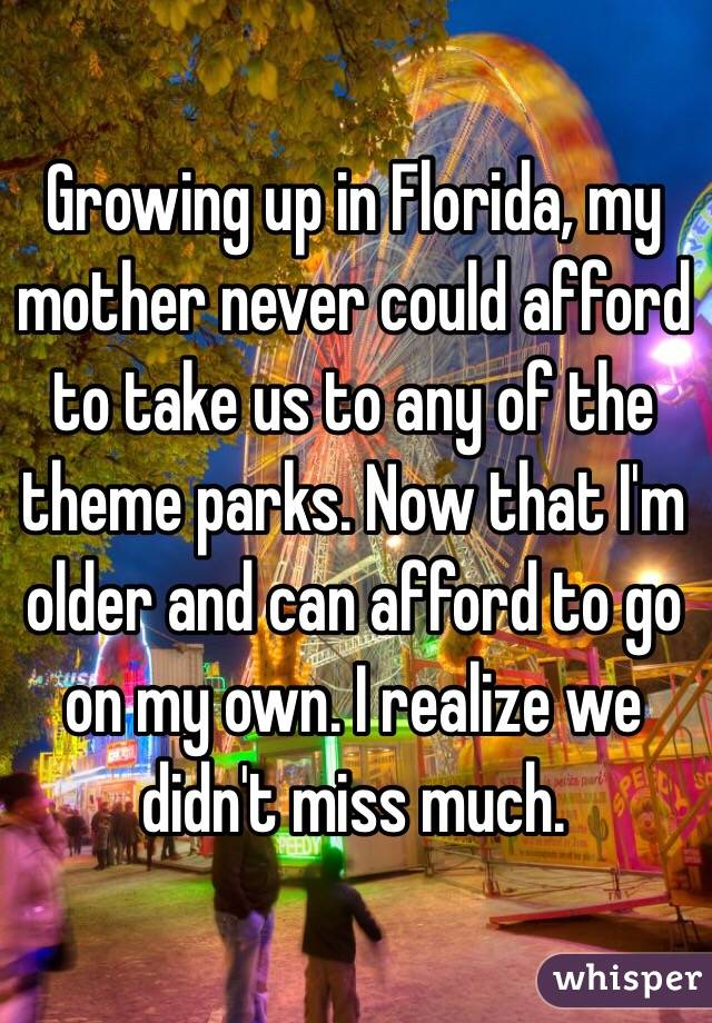 Growing up in Florida, my mother never could afford to take us to any of the theme parks. Now that I'm older and can afford to go on my own. I realize we didn't miss much.