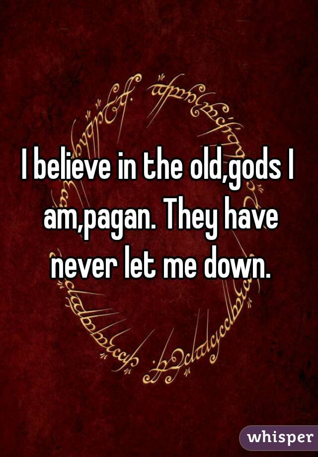 I believe in the old,gods I am,pagan. They have never let me down.