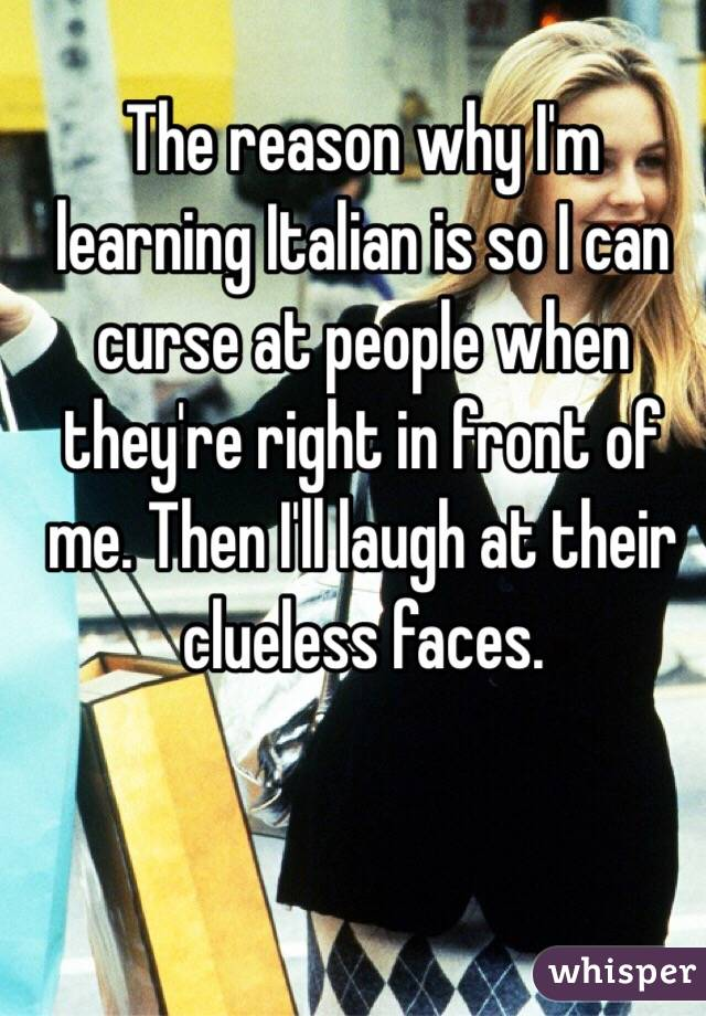 The reason why I'm learning Italian is so I can curse at people when they're right in front of me. Then I'll laugh at their clueless faces.
