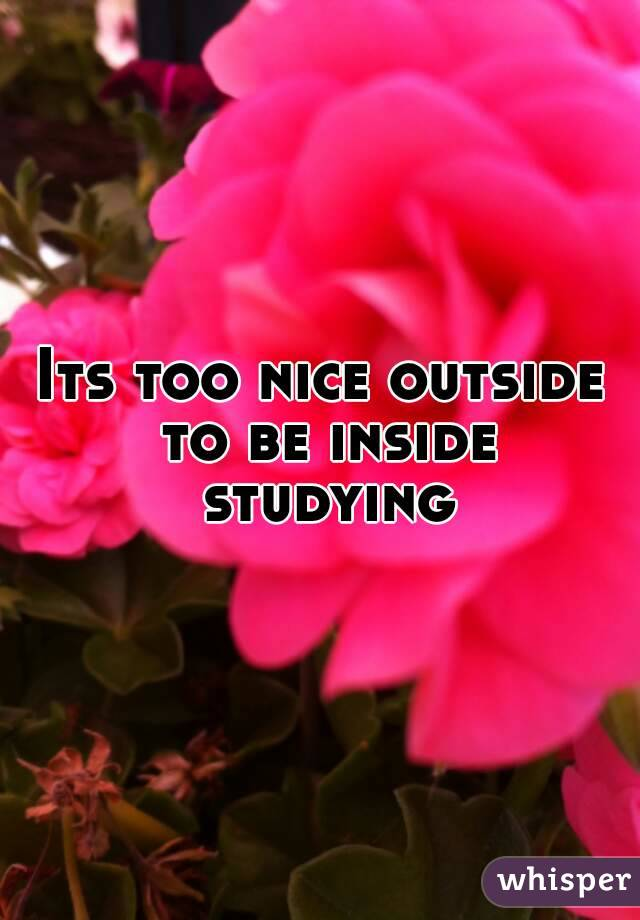 Its too nice outside to be inside studying