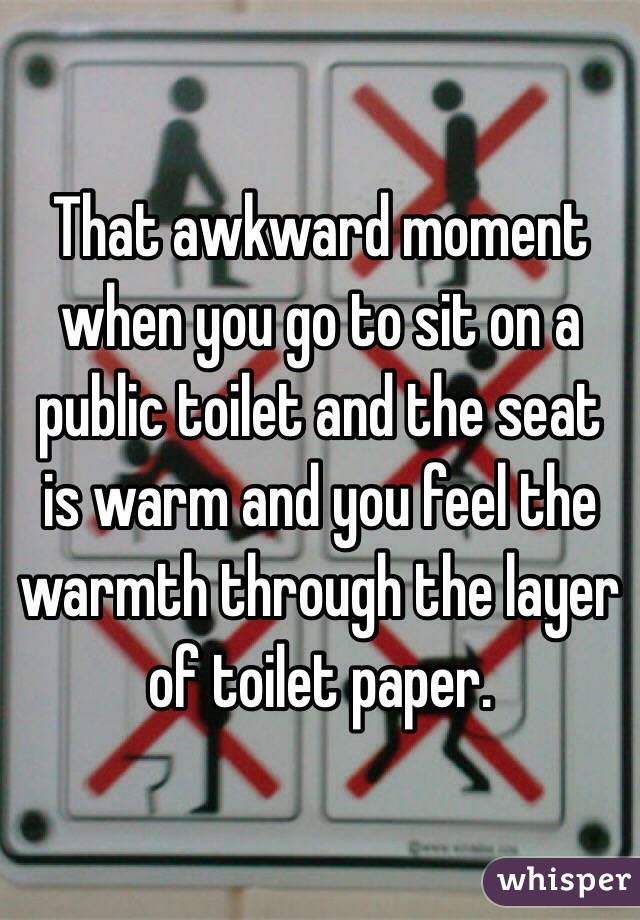 That awkward moment when you go to sit on a public toilet and the seat is warm and you feel the warmth through the layer of toilet paper.