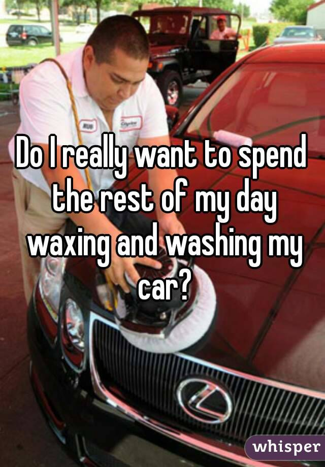 Do I really want to spend the rest of my day waxing and washing my car?
