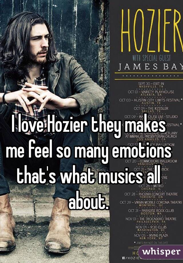 I love Hozier they makes me feel so many emotions that's what musics all about.