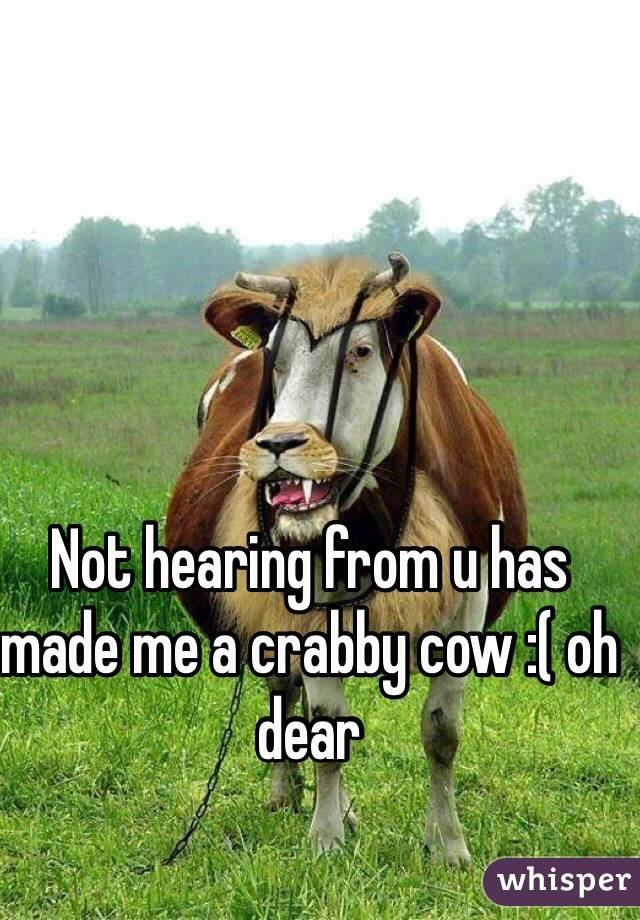 Not hearing from u has made me a crabby cow :( oh dear