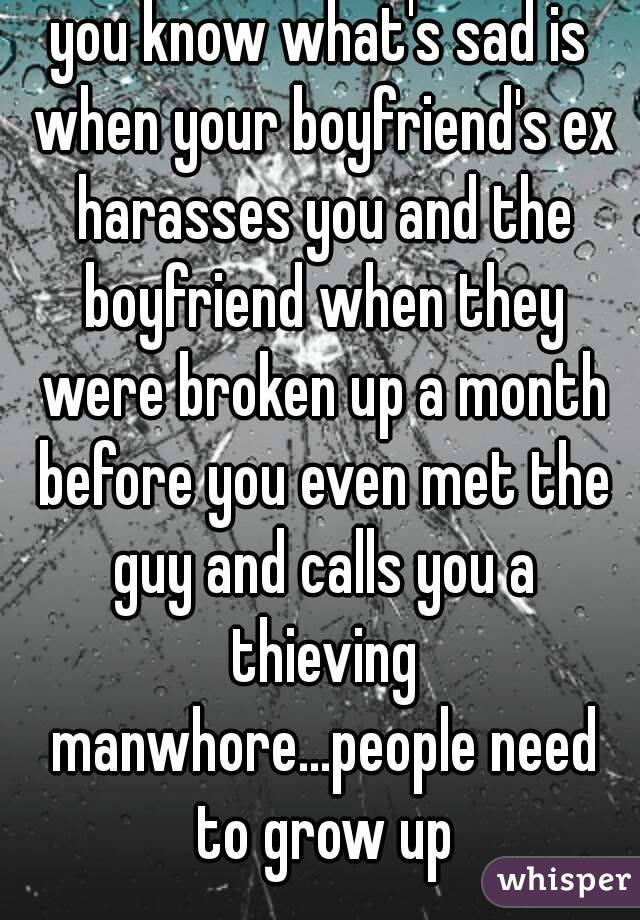 you know what's sad is when your boyfriend's ex harasses you and the boyfriend when they were broken up a month before you even met the guy and calls you a thieving manwhore...people need to grow up