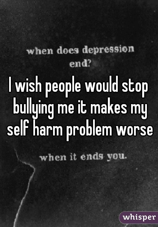I wish people would stop bullying me it makes my self harm problem worse