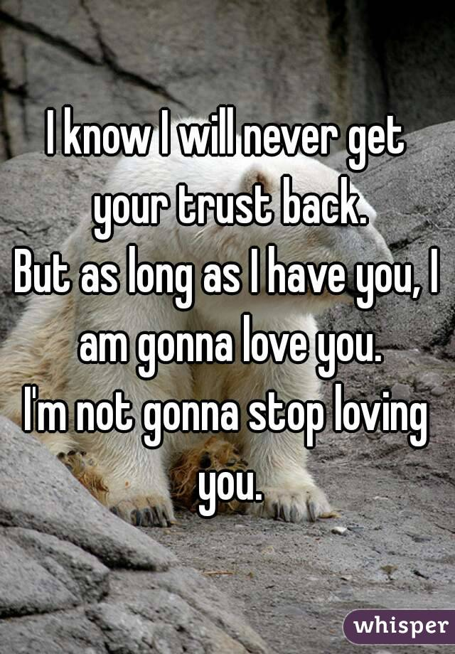 I know I will never get your trust back. But as long as I have you, I am gonna love you. I'm not gonna stop loving you.