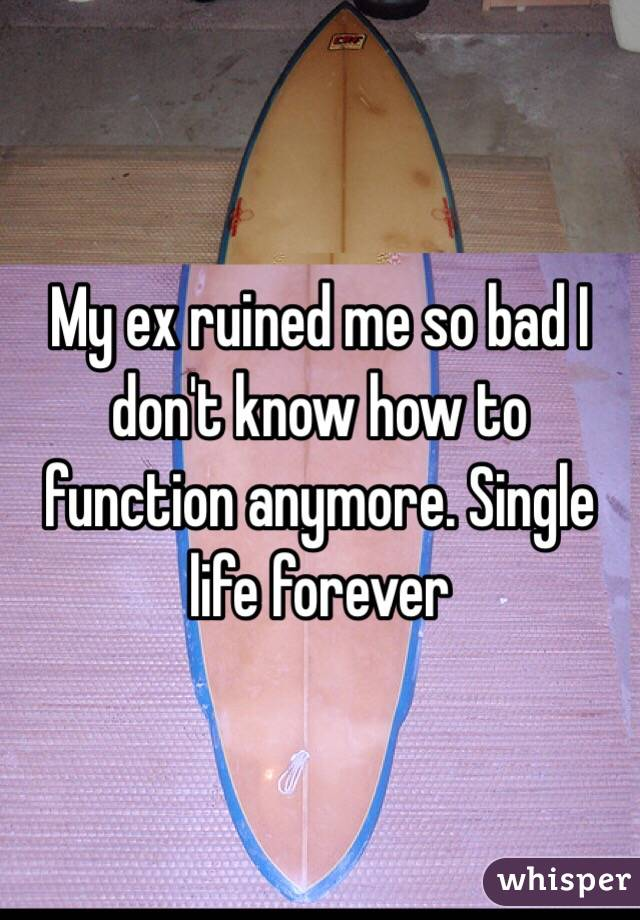 My ex ruined me so bad I don't know how to function anymore. Single life forever