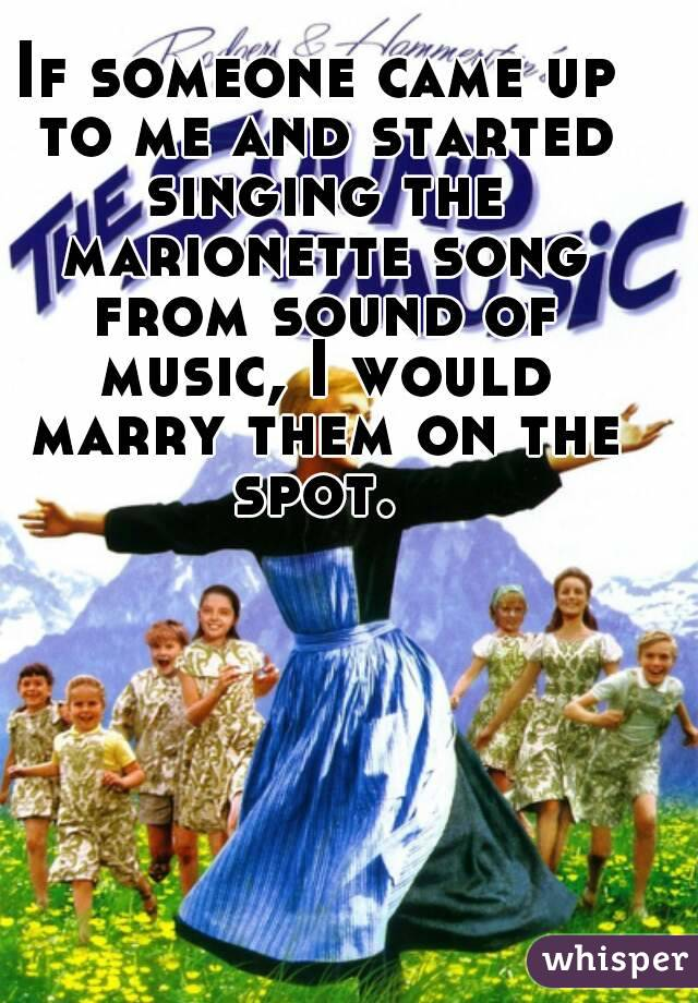 If someone came up to me and started singing the marionette song from sound of music, I would marry them on the spot.