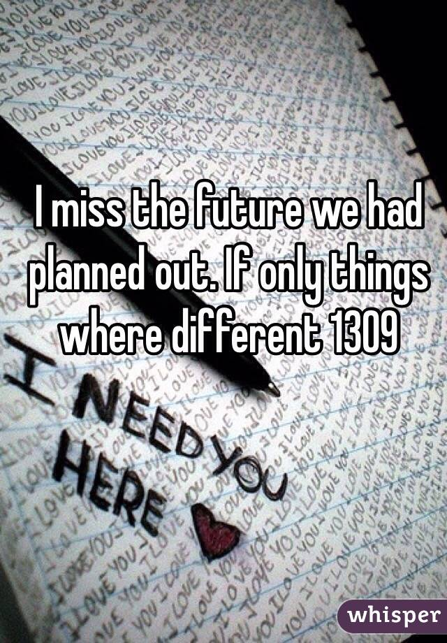 I miss the future we had planned out. If only things where different 1309